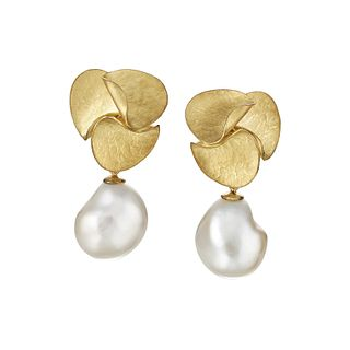 Small Autumn Leaves Earrings with Baroque Pearls