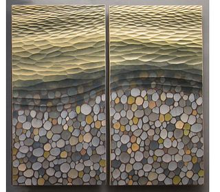 """Waves and Pebbles""(diptych)"