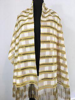 Handwoven, Hand-dyed Warp Ikat Silk Shawl