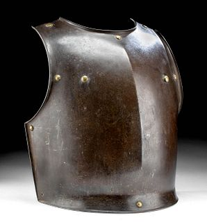 Late 18th C. French Steel Breast Plate w/ Brass Rivets