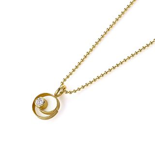 Coil button pendant with diamond in 18K gold