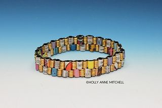 Recycled Newspaper Comic Strip and Stock Listing Bracelet