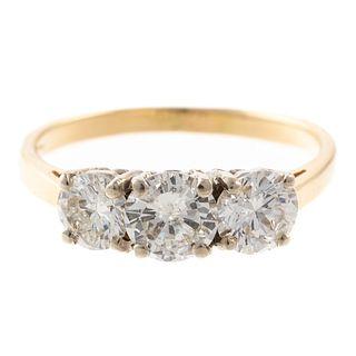 A Classic Three-Stone Diamond Ring in 14K