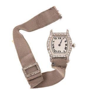 A Lady's Diamond Wristwatch in Platinum