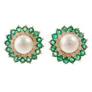 A Pair of Pearl, Emerald & Diamond Earrings in 14K