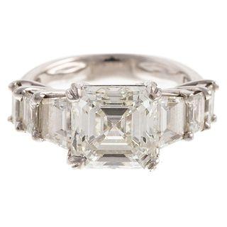 A 3.50 ct Asscher Cut Diamond Ring in Platinum