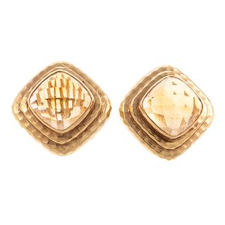 A Pair of Hammered Finish Citrine Earrings in 14K