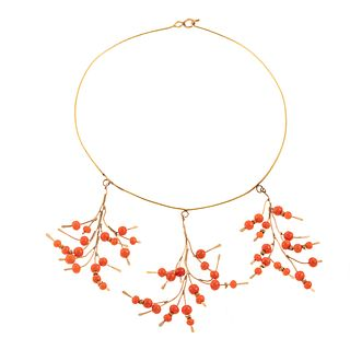 A Coral Tree Branch Necklace in 14K