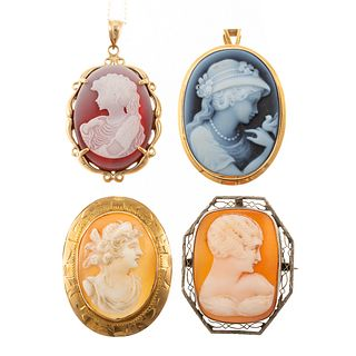 A Collection of Cameo Pins & Pendants in Gold