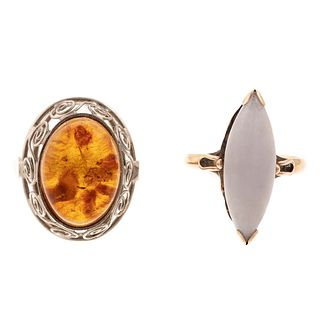 A White Jade Ring in 14K & An Amber Ring in 10K