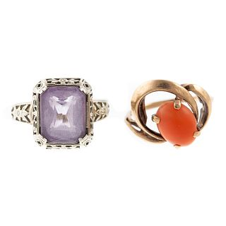 A Pair of Vintage Rings in Amethyst, Coral, & Gold