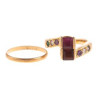 A Multi Gemstone Ring & Thin Gold Band