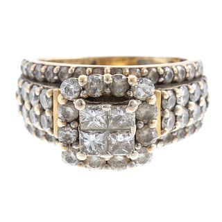 A Lady's Princess Cut Diamond Ring in 10K