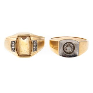 A Pair of Wide Gold Rings with Citrine & Diamond