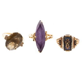 A Trio of Rings in Amethyst, Topaz, Signet & Gold