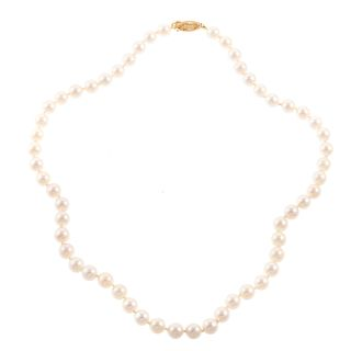 An 18 Inch Pearl Necklace with 14K Filigree Clasp