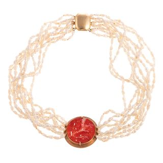 A Carved Coral & Pearl Choker Necklace in 14K