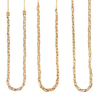 A Trio of Woven Link Necklaces in 14K & 18K