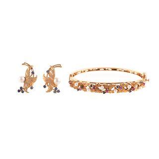 A Ruby, Sapphire & Pearl Bracelet with Earrings