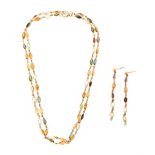 An 18K Multi Gemstone Chain with Matching Earrings