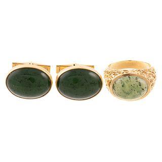 A Jade Ring & Pair of Jade Cufflinks in Gold