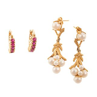 Two Pairs of Earrings with Pearls & Rubies in 14K