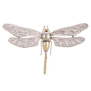 An Impressive Diamond Encrusted Dragonfly Brooch