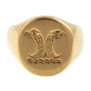 A 18K Double Headed Eagle Byzantine Signet Ring