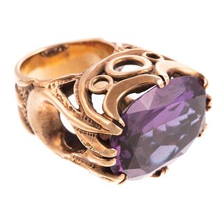 A Vintage Color Change Sapphire Statement Ring