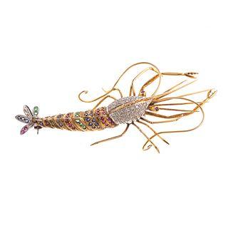 A Shrimp Brooch Encrusted with Gemstones in 14K