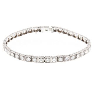 A 7.00 ctw Diamond Art Deco Line Bracelet in Plat