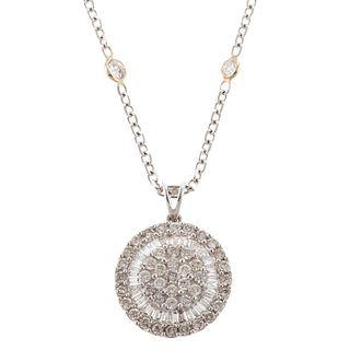 A 18K Diamond Pendant on Diamond By the Yard Chain