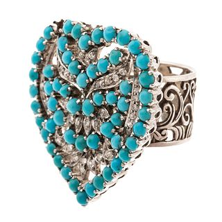 A Large Diamond & Turquoise Encrusted Heart Ring