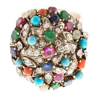 A Vintage Indian Floral Gemstone Ring in Sterling