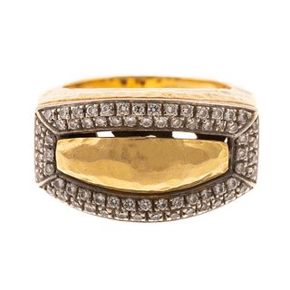 A Bold 14K Hammer Finish Band with Diamonds