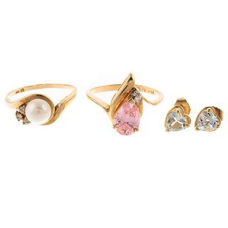 A Collection of 14K Rings & Aqua Heart Earrings