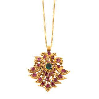 A High Karat Ruby & Emerald Pendant on Chain