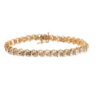A 10K Yellow Gold Diamond Line Bracelet