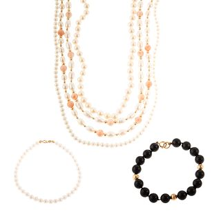 A Collection of Pearl, Onyx & Coral Jewelry in 14K