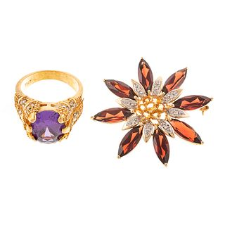 A Synthetic Color Change Sapphire Ring & Brooch