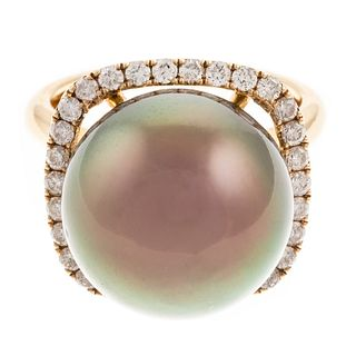 A Large Tahitian Pearl Halo Ring in 14K Gold