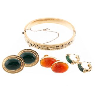 A Collection of 14K Malachite & Carnelian Earrings