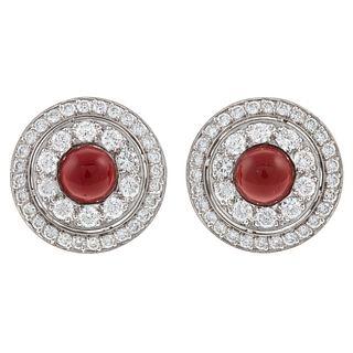 A 18K White Gold Diamond & Coral Button Earrings