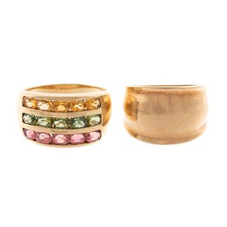 A Colorful Tourmaline Wide Band & 10K Ring