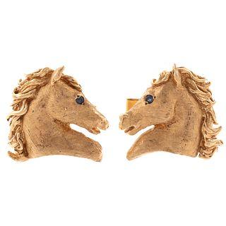 A Horse Head Pair of Cufflinks in Florentine Gold