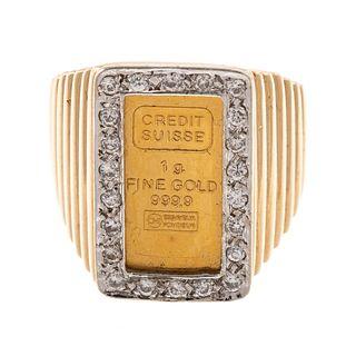 A 14K Ring with a 1 Gram 999.9 Swiss Gold Ingot