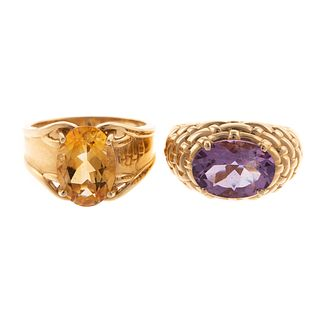 A Pair of Bold Amethyst and Citrine Rings in 10K