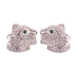 """18K """"Panthere de Cartier"""" Diamond Stud Earrings"""