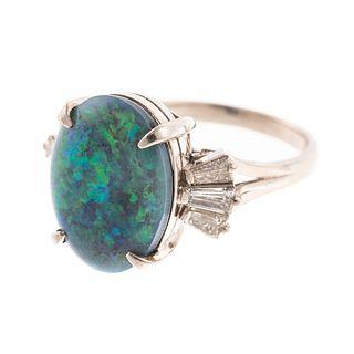A Platinum Black Opal & Diamond Ring