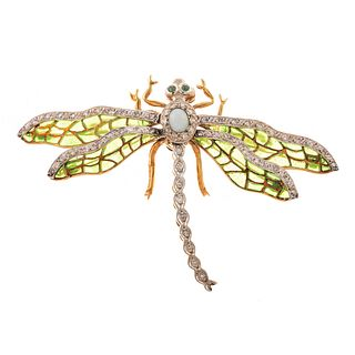 A Plique-a-Jour Dragonfly Pin in 18K